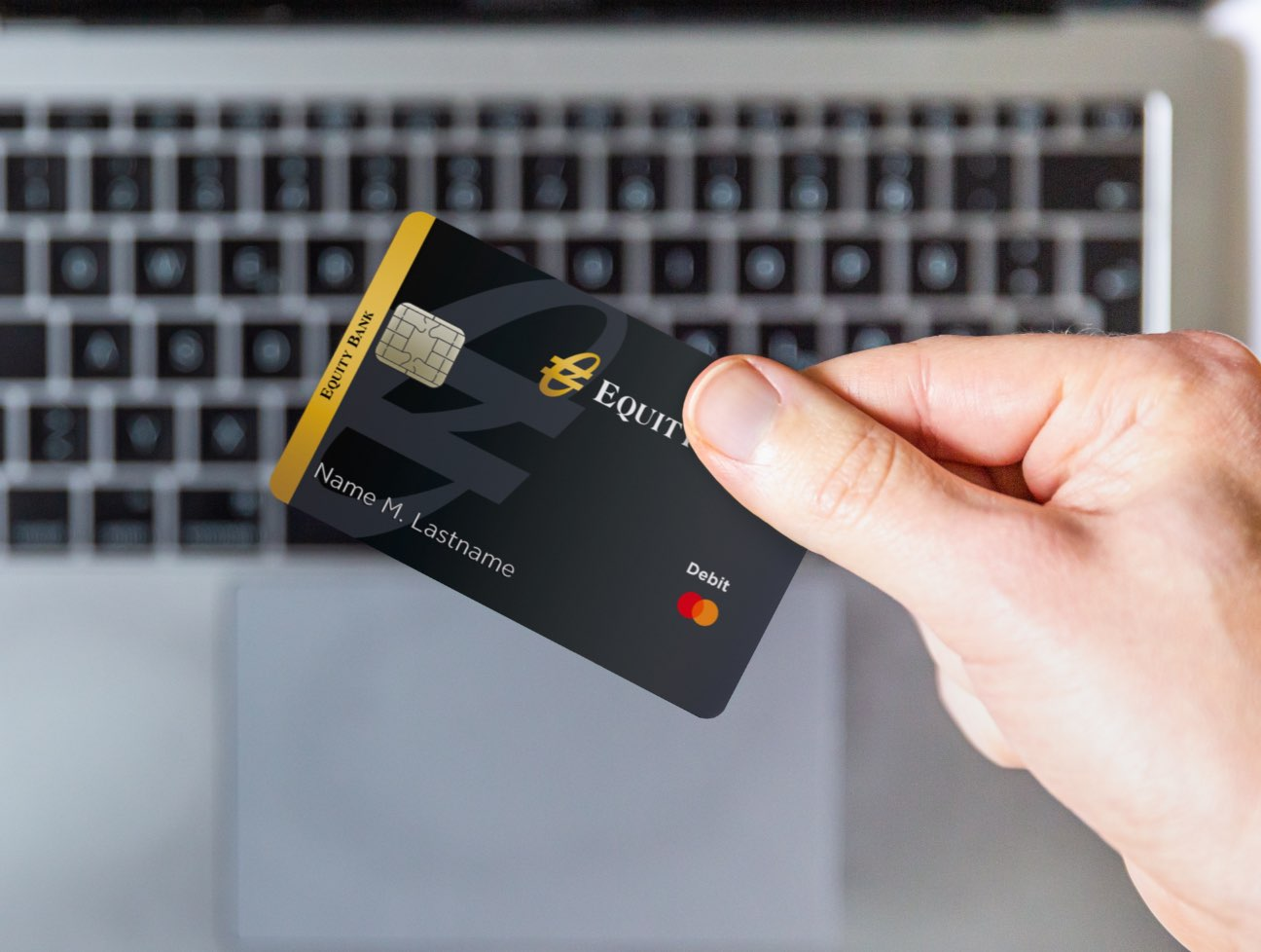 Close-up of Equity debit card