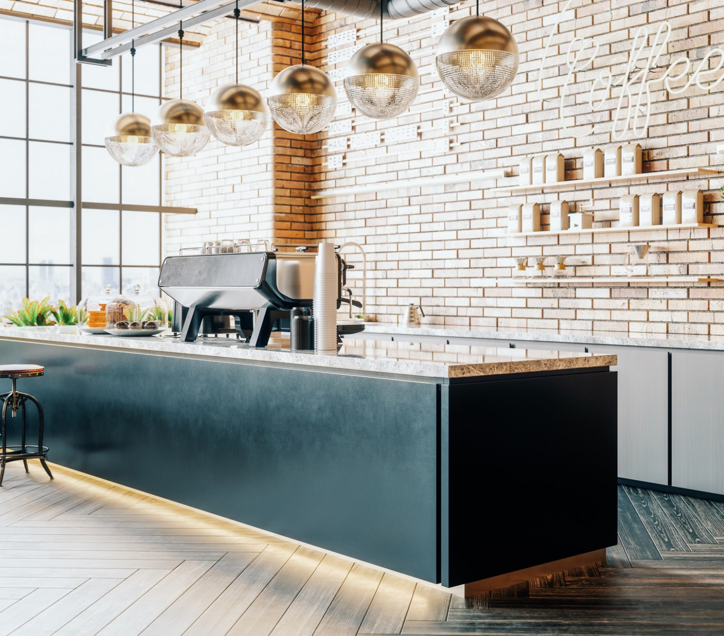 Coffee shop countertop with hanging pendant lights