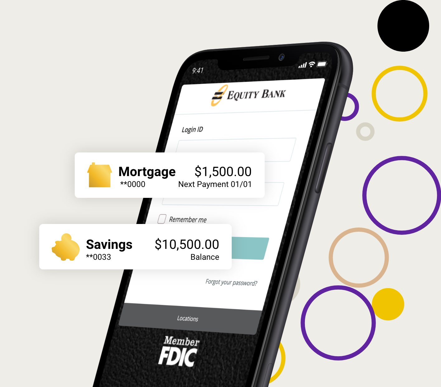 Graphic of cell phone with equity banking app on screen and circles in the background