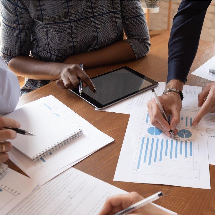 Team meeting reviewing data